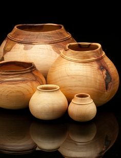 "Richard Raffan's beautiful ""Oak Pot Series"". Made from Australia's native Casuarina Oak. --- from Craft Supplies USA #woodturning #woodturner #woodturnerscatalog"