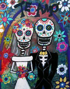 Te Amo Painting -  Te Amo Wedding Dia De Los Muertos by Pristine Cartera Turkus