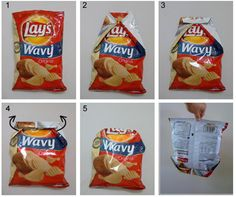 NO MORE CLIPS!     1. Place the bag of potato chips on a table and flatten the top of the bag.     2. Fold the right and left side of the bag towards the middle allowing the corners to meet at the center.        3. Fold the top of the potato chip bag down. Keep folding down till you reach the chips     4. Insert your thumbs under the flaps made in step 2. Invert the flaps over the top edge.     Done!