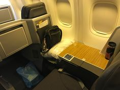 The first class /business class cabin of the dedicated Hawaiian fleet of 767-300's flying from DFW to the Islands features a 1-2-1 seat configuration and lay flat seats.