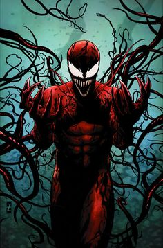 """Carnage: Carnage is the offspring of the alien symbiote Venom. It bonded with serial killer, Cletus Kasady, thus creating one of Spider-Man's most murderous and lethal adversaries.  ✮✮""""Feel free to share on Pinterest"""" ♥ღ www.UNOCOLLECTIBLES.COM"""