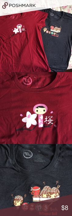 Cute tee shirts, Japanese theme, Red L- black XL Cute tee shirts, Japanese theme, Red L- black XL both would fit like. Medium they run small! Spicy Brown Tops Tees - Short Sleeve