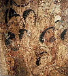 Buddha preaching the Abhidharma in the Tavatimsa Celestial World. Detail cm) Fine Art Print Framed, Poster, Canvas Prints, Puzzles, Photo Gifts and Wall Art Fine Art Prints, Framed Prints, Canvas Prints, Ajanta Caves, Indian Architecture, Indian Folk Art, Hindu Art, Mural Art, Religious Art