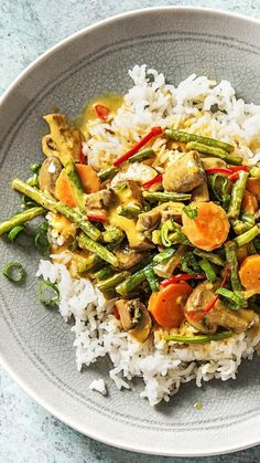 Buntes Kokos-Gemüse-Curry mit Bohnen, Chili und Champignons auf Jasminreis Recipe: Colorful coconut vegetable curry with beans, chili and mushrooms on. Vegetarian Curry, Vegetarian Recipes, Healthy Recipes, Curry Food, Curry Recipes, Asian Recipes, Ethnic Recipes, Mushroom Recipes, Vegetable Recipes