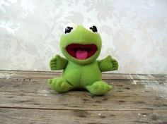Kermit the Frog plush toy 1987  Hasbro Softies by littlecleoathome