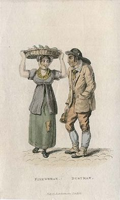 "English working woman, c. 1824. ""Fishwoman and Dustman"", published by R. Ackermann, British, 1824."