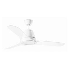 """Takfläkt Tiga 52"""" ( 1320 mm ) med LED belysning är moderna stilar, och det är lätt att se varför. Detta modernt designade taklampan kännetecknas av det vitmålade och som är gjord av stål, Klar akryl blad. Takfläkt fjärrkontroll i inkluderade priset. Takfläkt är för tyst gång."""