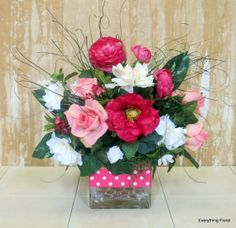 Beautiful Pinks in a Glass Vase, Silk Flower Arrangement for SPRING by EverythingFloral