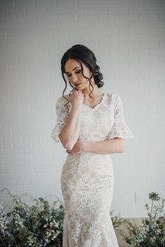 Juniper gown by Elizabeth Cooper Design | Photo by Cassandra Farley Photography | modest wedding dress | wedding dress with sleeves | mermaid | lace wedding dress with sleeves | lace wedding dress | wedding gown | lace | blush wedding dress | modest | bell sleeves |