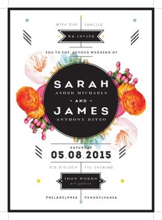 Flowers Geometrics Postcard Save the Date by KLynxDesigns