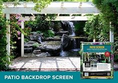 Designer Patio and Gazebo Backdrop Screen - Turtle Falls 9-ft. X 7-ft.