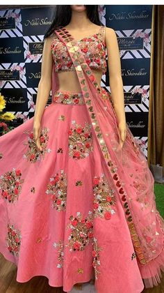 Such gorgeous lehenga details and soo pretty color by 😍😍 🔹 Designer Blouse Ideas . Tag your… Wedding Lehenga Designs, Designer Bridal Lehenga, Bridal Lehenga Choli, Indian Wedding Outfits, Indian Outfits, Indian Dresses, Half Saree Designs, Choli Designs, Lengha Blouse Designs