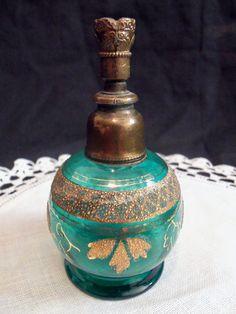 Antique Vintage Green Perfume Bottle Sprinkler Gold Decor Czech Bohemian   eBay