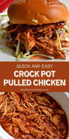 Quick and Easy Nutritious Crock Pot Pulled Chicken is one of the tastiest dinner recipes made with only 6 ingredients. Serve on toasted buns with coleslaw or just add slaw for a low carb version! Make this dinner meal for later! Crockpot Recipes, Cooking Recipes, Cooking Stuff, Dishes Recipes, Recipies, Pulled Chicken Recipes, Cookout Food, Easy Summer Meals, Dinner Meal