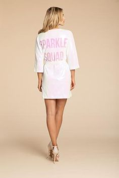 'Sparkle Squad' Robe by Hayley Paige at Sash & Bustle #sashandbustle #sparklerobe #hayleypaige #athleisure #hayleypaigeathleisure #gettingreadyrobes #bridalgift #bridesmaidsgift #robe #sparklesquadrobe #giftsforbrides #giftsforweddingday #weddingdayrobe