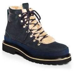 Greats Men's Amerigo Shearling Boots - GQ60, 100% Exclusive ($425) ❤ liked on Polyvore featuring men's fashion, men's shoes, men's boots, blue, mens shoes, mens shearling shoes, mens blue shoes, mens blue boots and mens boots