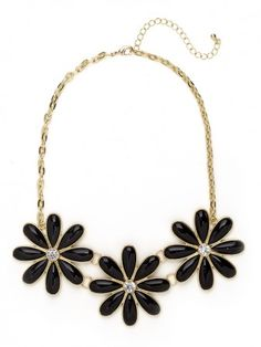 Bauble Bar Onyx Floral Trio Bib Necklace