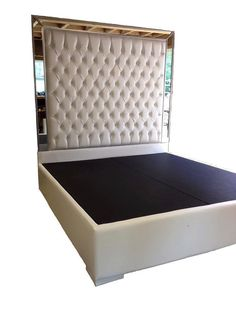 White Faux Leather King Size Bed Tufted Upholstered Bed