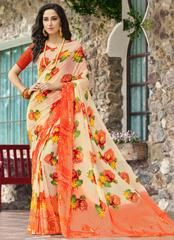 Peach & Orange Color Georgette Kitty Party Sarees : Pranavir Collection YF-61465 Floral Print Sarees, Printed Sarees, Floral Prints, Peach Orange Color, Party Sarees, Kitty Party, Sari, Collection, Fashion