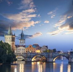 Old Town part of Charles bridge, Prague, Czechia