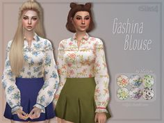 Gashina Blouse A slightly sheer, floral blouse with puffy sleeves. ʕ•ᴥ•ʔ • custom thumbnail • 6 swatches • base game compatible • edited EA mesh by me • please read and respect my TOU DOWNLOAD HERE...