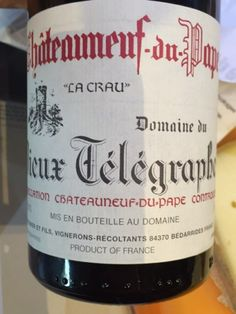 Domaine du Vieux Télégraphe Châteauneuf-du-Pape La Crau 2012 | Score 94 Release Price $83 Country France, Region Southern Rhône, Issue Nov 15, 2014.  We Paid $69 Brooklyn Cafe drank it Oct-Dec 2016.Rock-solid, with a hefty core of fig, blackberry and black cherry fruit, wrapped in chestnut and tobacco leaf notes and carrying through a lavender- and tar-framed finish. Dense and grippy, showing a slightly old-school shading. Should cellar well. Best from 2016 through 2030. 3,267 cases…
