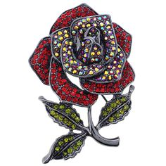 Queen Red Crystal Rose Pin Brooch - Fantasyard Costume Jewelry & Accessories
