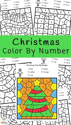 Christmas Color By Number Worksheets - Fun with Mama Kindergarten Coloring Pages, Kindergarten Colors, Preschool Colors, Numbers Kindergarten, Numbers Preschool, Christmas Maze, Preschool Christmas, Toddler Christmas, Christmas Activities