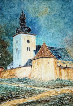 Pavel Móza - Prievidza - Mariánsky kostol, olej, 2002., 41x29 cm, cena - 600€