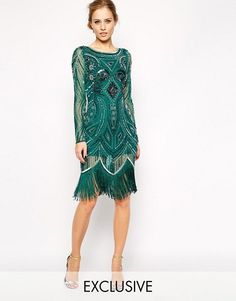 Buy Frock and Frill All Over Embellished Dress with Tassel Hem at ASOS. Get the latest trends with ASOS now. 20s Fashion, Look Fashion, Vintage Fashion, Fashion Online, Victorian Fashion, Look Gatsby, Gatsby Movie, Gatsby Party, Fringe Flapper Dress
