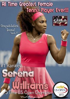 Congratulation To Ms. Serena Williams Making History Today With Her 5th U.S. Open Title! And Becoming The Richest & Greatest Female Tennis Player To Date!!! #TeamSerena #USOpen #Female #Tennis #Champion  DarnellM1 Designs © 2013