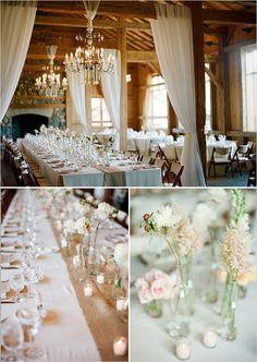 Incredible!!!! Love the long tables - exactly what I want instead of smaller, round tables.  I also love the burlap runners, and chandeliers tied to the ceiling!! Want to replicate this