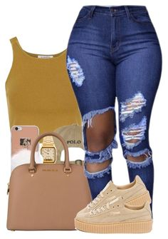 """""""Untitled #1199"""" by missglamfashionz ❤ liked on Polyvore featuring Glamorous, American Apparel, MICHAEL Michael Kors and Puma"""
