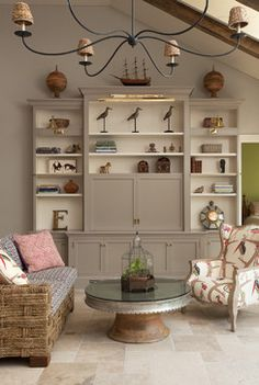 Beautiful furniture painting idea for using Chalk Paint™ decorative paint in French Linen and Old White. Thi is a definite for my living room bookcase. s color scheme interior design design ideas Painting Bookcase, Living Room Bookcase, Built In Entertainment Center, Cabinet Design, New Wall, Interiores Design, Living Room Designs, Living Rooms, Painted Furniture