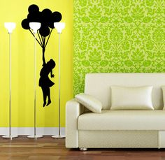 Large matte black vinyl chandelier on a green wall behind a modern white couch. Girl Holding Balloons, White Couches, Girl Silhouette, Street Graffiti, Street Artists, Dining Room Design, Wall Decals, Living Room, Bedroom