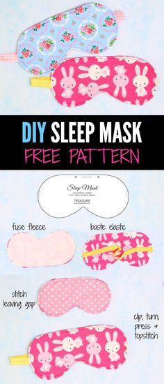 Sleep Mask - Easy Tutorial With Free Pattern diy sleep maskdiy sleep mask Sewing Hacks, Sewing Tutorials, Sewing Crafts, Sewing Patterns, Sewing Basics, Fabric Crafts, Kids Sleep Mask, Mask For Kids, Cute Sleep Mask