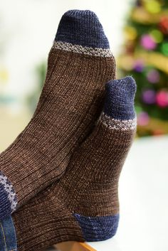 My Man's socks by Zsuzsanna Orthodoxou | malabrigo Sock in Chocolate Amargo, Cote d Azure and Plomo
