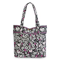 Disney Parks Mickey Mouse Meets Birdie Tote by Vera Bradley Quilted exterior Exterior zippered pocket with Vera Bradley signature pull Open exterior pocket with attached key hook Loop and toggle top c