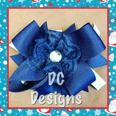 Navy and silver bow