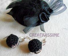 Orecchini a pallina all'uncinetto nero e argento  di CREATIVISSIME su DaWanda.com