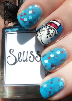 "Whimsical Ideas By Pam nail polish ""Suess"".  Nail art by Adventures in Acetone #adventuresinacetone"