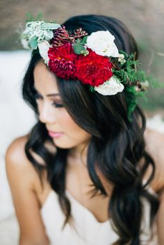 Red flower crown   Jenna Bechtholt Photography   see more on: http://burnettsboards.com/2014/12/bohemian-chic-engagement-parts/