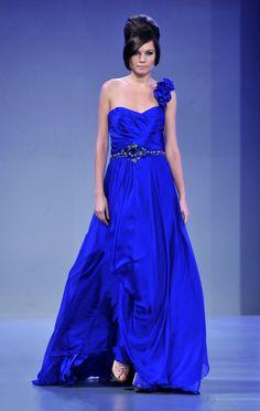 Blue #dress on the #runway by #designer Mireille Dagher