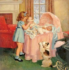Playing With Baby by Frederick Sands Brunner (1886 – 1954, American)