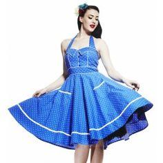 Hell Bunny Vanda Blue Rockabilly Dress at Atomic Cherry