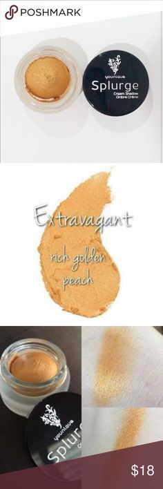 Splurge Cream Eyeshadow in Extravagant Beautiful rich golden peach color, brand new in box. Goes on as a cream and dries as a powder shadow. Recommended use with a cream shadow brush. Retails for $26.00 younique Makeup Eyeshadow