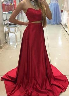 Two Piece Prom Dress,Strapless Red Prom Dresses,Evening Dress