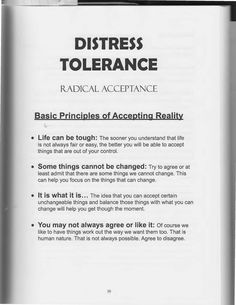 The Art of Dialectical Behavior Therapy: Distress Tolerance - Radical Acceptance Therapy Worksheets, Therapy Activities, Coaching, Relation D Aide, Radical Acceptance, Mental Health Counseling, Under Your Spell, Counseling Activities, Therapy Tools