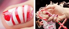 Candy Cane Watermarble ~ with red and white polish and gold brush liner for details ~ by Pshiiit