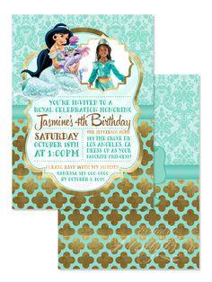Palace Pets (Princess Jasmine)   Digital Faux Gold Foil Birthday Party  Invitation / Child